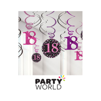 18th Birthday Pink Swirl Decorations (12)