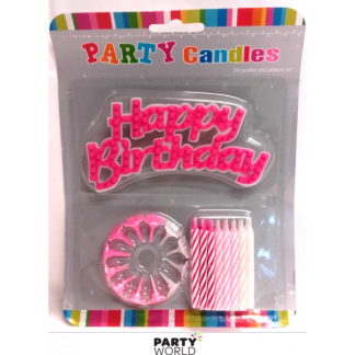 Pink Candles and Happy Birthday Plaque Set