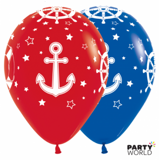 Red and Blue Nautical Latex Balloons (12)