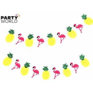 Pineapple and Flamingo felt Garland