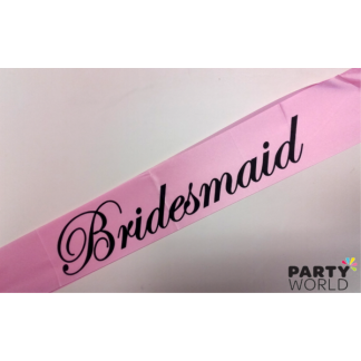 Bridesmaid Sash - Baby Pink with Black Font