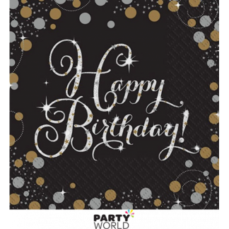 Sparkling Black Happy Birthday Luncheon Napkins (16)