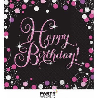 Sparkling Pink Happy Birthday Luncheon Napkins (16)