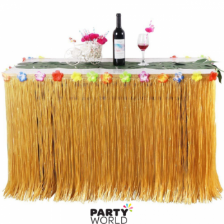 Tropical Table Skirt Beige / Yellow Long 75x276cm