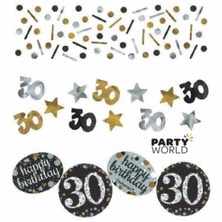 30th Birthday Sparkling Black Confetti
