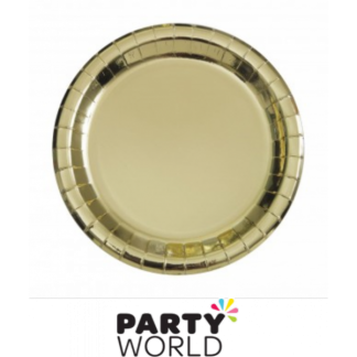 Gold Foil 7in Round Paper Plates (8)