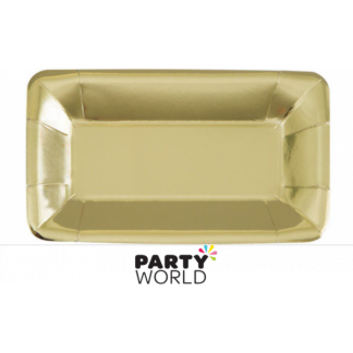 Gold Foil Rectangular Appetizer Plates (8)