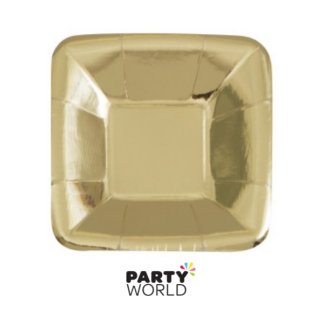 Gold Foil 5in Square Paper Appetizer Plates (8)