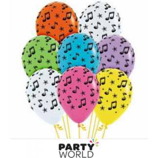 Music Notes Assorted Latex Balloons (5)