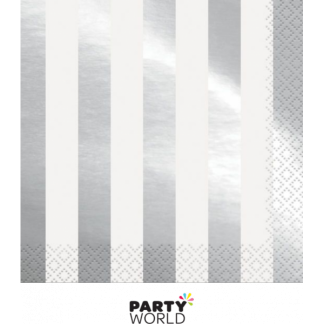 Silver Foil Stripes Luncheon Napkins (16)