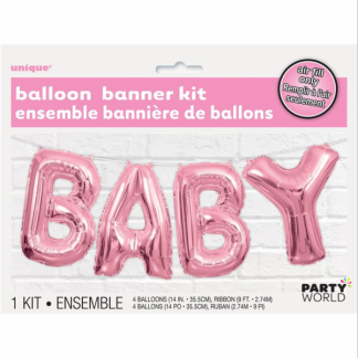 Baby Foil Balloon Banner Kit - Pink
