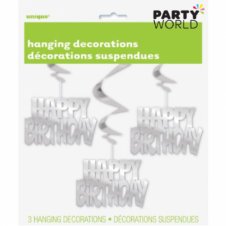 Happy Birthday Hanging Decorations Silver (3)