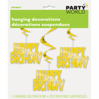 Happy Birthday Hanging Decorations Gold (3)