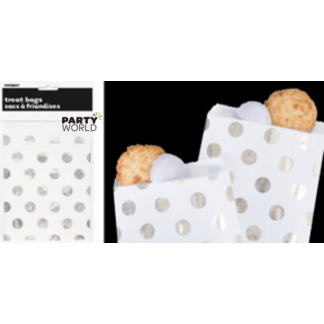 Silver Dot Paper Treat Bags (8)