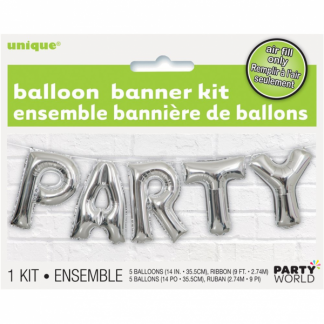 Party Foil Balloon Banner Kit Silver (air fill)