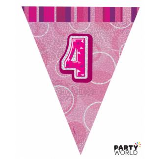 Glitz Birthday 4th Bunting Pink/Silver