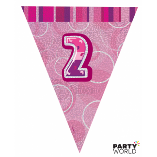 Glitz Birthday 2nd Bunting Pink/Silver