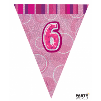 Glitz Birthday 6th Bunting Pink/Silver