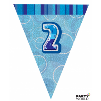 Glitz Birthday 2nd Bunting Blue/Silver