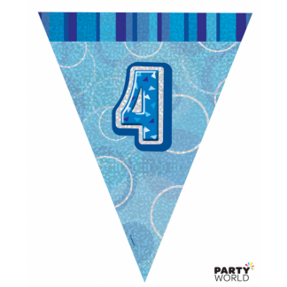 Glitz Birthday 4th Bunting Blue/Silver