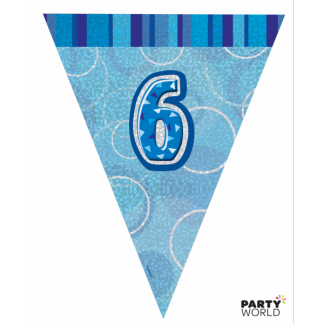 Glitz Birthday 6th Bunting Blue/Silver