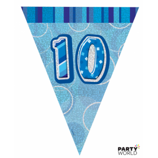 Glitz Birthday 10th Bunting Blue/Silver