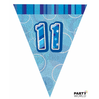 Glitz Birthday 11th Bunting Blue/Silver