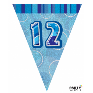 Glitz Birthday 12th Bunting Blue/Silver