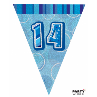Glitz Birthday 14th Bunting Blue/Silver