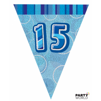 Glitz Birthday 15th Bunting Blue/Silver