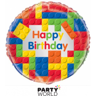 Building Blocks Birthday Foil Balloon 18in