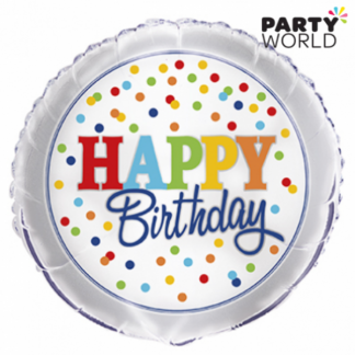 Rainbow Polka Dot Happy Birthday Foil Balloon