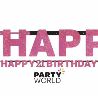 Pink Celebration 21st Birthday Letter Banner