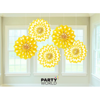Yellow Sunshine Paper Fans (5)
