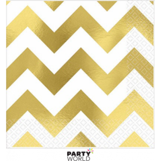 Gold Chevron Beverage Napkins (16)