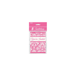 Pink Damask Invitations (8)