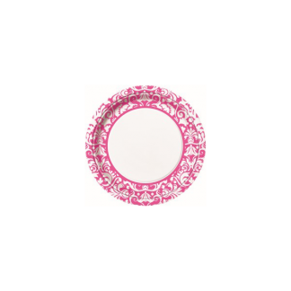 Pink Damask Dinner Plates 9in (8)