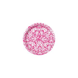 Pink Damask Side Paper Plates 7in (8)