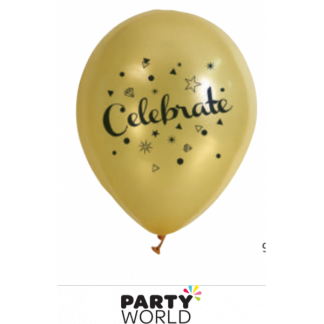 Gold Celebrate Latex Balloons (10)