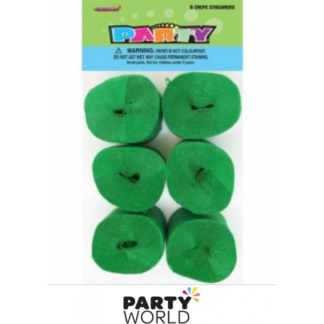 Emerald Green Mini Crepe Streamers (6)