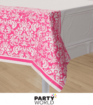 pink damask tablecover