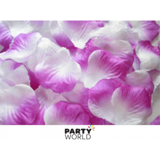 Artificial Silk Rose Petal Scatters - Purple/White Fade (*100)