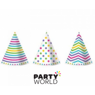 Rainbow Dots Stripe Chevron Paper Hats (6)