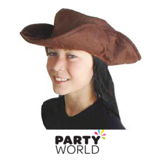 Brown Pirate Hat with Black Hair