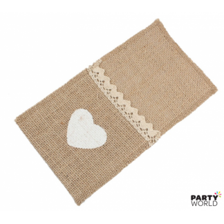 Hessian with Lace Cutlery Sleeve