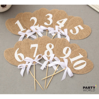 Hessian Heart Table Numbers