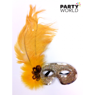 Yellow and Gold Masquerade Mask