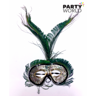 Peacock and Gold Masquerade Mask