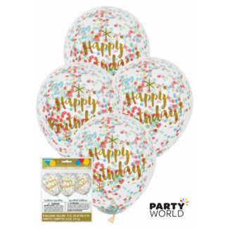 Glitzy Gold Happy Birthday Confetti Balloons 30cm (6)