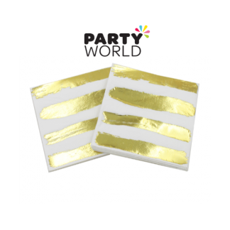 Gold Foil Stripes Beverage Napkins (20)